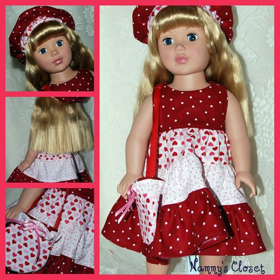 18 Inch Doll Clothes American Girl Doll  Valentine by NammysCloset, $15.00