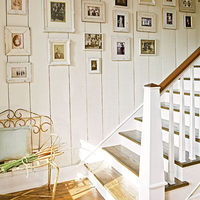 """""""Re-create an antique look in any room in your home without an expensive overhaul by hanging black-and-white and sepia-tone photographs. Salvaged frames in various widths and texture add an authentic feel to the aged pictures.""""  Photographer Jean Allsopp , Writer Bradley Nesbitt."""