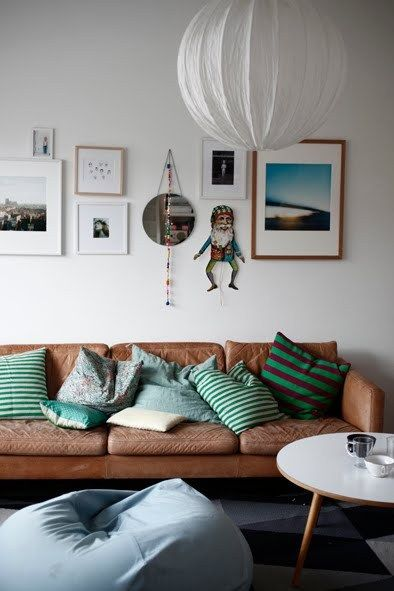 mix-and-match green patterned pillows