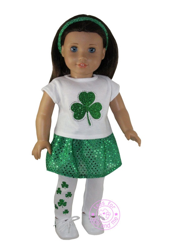 American Girl Doll 18 Doll St Patrick's Day Green by teesfordolls, $25.99