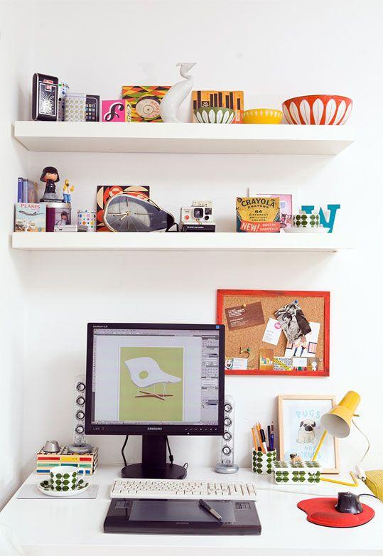 Like the floating shelves above a studio desk