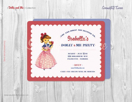Dolly and Me Party - Custom Printable Invitation - Doll - Dollhouse