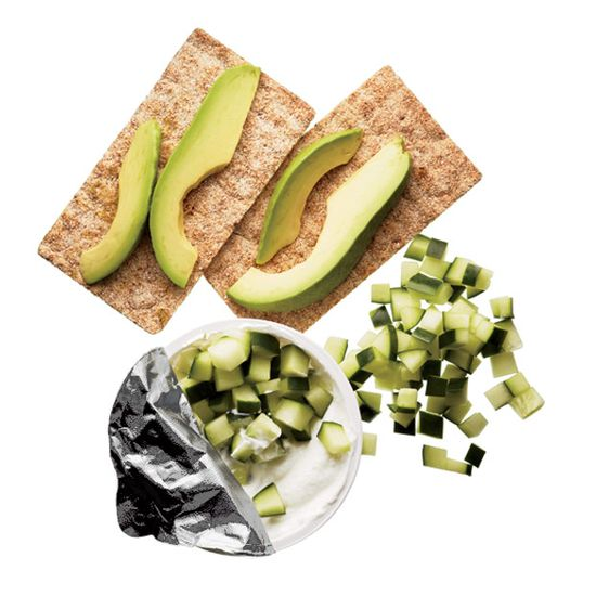 Snack Under 300 Calories: Pair avocado and cucumber with light crackers and Greek yogurt for a perfect afternoon snack! blog.womenshealth...