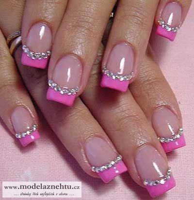 Glittery pink nails - pretty! :)
