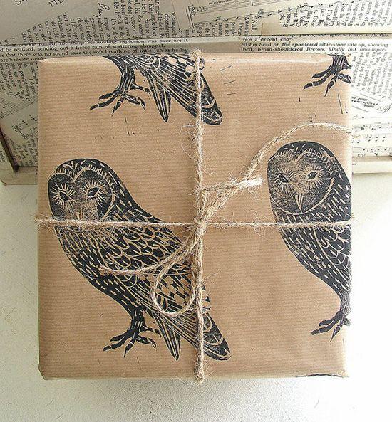 barn owl rustic bird gift wrap by handmade and heritage