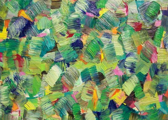 Green Abstract Art Original Oil Painting