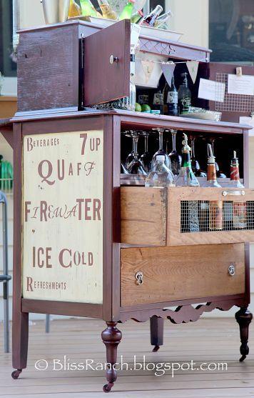 Old dresser turned into a bar.
