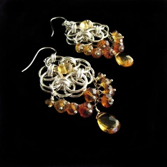 Gorgeous! Helm Circle Chainmaille Earrings with Citrine
