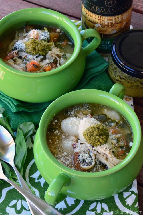 Italian Chicken Gnocchi Soup Recipe from KatiesCucina.com >> #WorldMarket Fall Cooking #Recipes #GourmetGetaway #Italian #Soup #Chicken