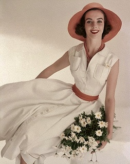 Such a lovely, youthfully pretty terracotta and white ensemble from the summer of 1957. #vintage #dress #summer #hat #fashion #1950s