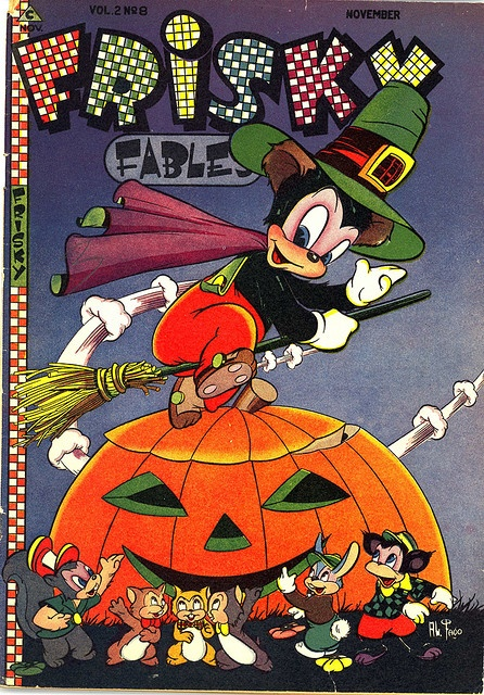 "Adorable Halloween themed 1946 cover of a ""Frisky Fables"" comic book. #comic #book #Halloween #1940s #forties #vintage #retro #cover #illustrated #pumpkin"