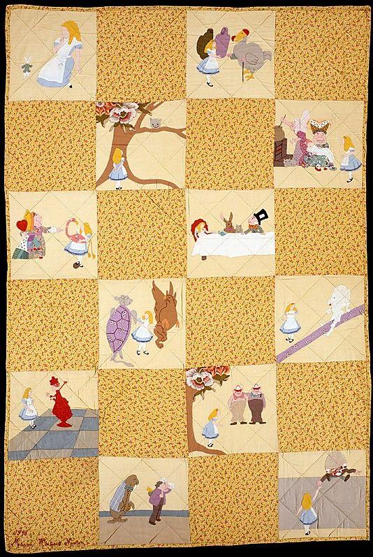 Crib Quilt, Alice in Wonderland patterned                                             Marion Whiteside Newton                                                                                                                  Date:                                        1945