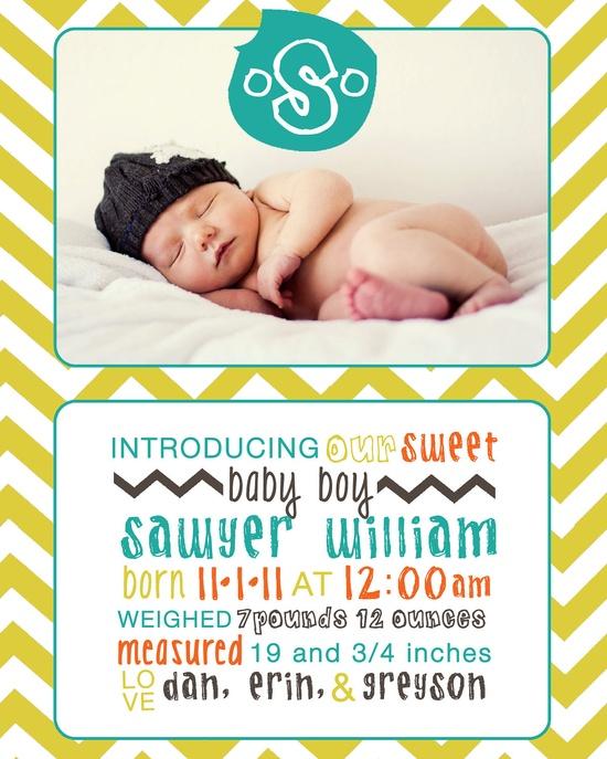 Chevron Photo Birth Announcement Digital File - Boy or Girl. $12.00, via Etsy.