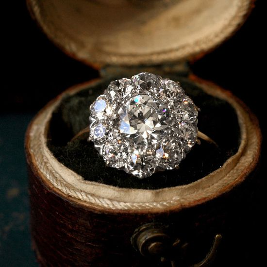 Fancy - 1900's Victorian Diamond Cluster Engagement Ring...
