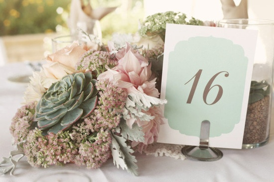 Table numbers ~ these colors are so soft ... Photography by edytaszyszlo.com