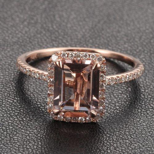 Claw Prongs 14k Rose Gold Emerald Cut Morganite 26ctw Diamonds Engagement Ring