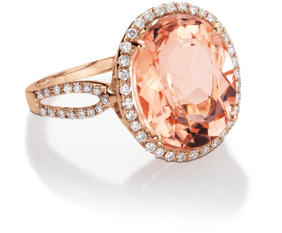 Morganite and diamond ring in 14K rose gold. Want want want.