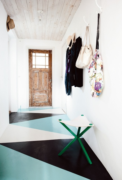 I don't know why, but i really like this. mix of old and new?? geometric painted floors