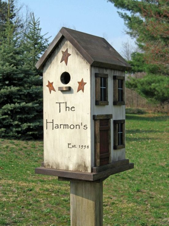 Bird house engraved with  your name,  est. Dates. Window with rusty stars around the bird opening!  Barn has red door! Roof, trim, step & base is a dark rich walnut. Bird house would be perfect anywhere inside or ourside your home. So pretty!!