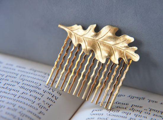 Gold Oak Leaf  Brass Hair Comb  Autumn  Fall  by FawningInLove, $12.00