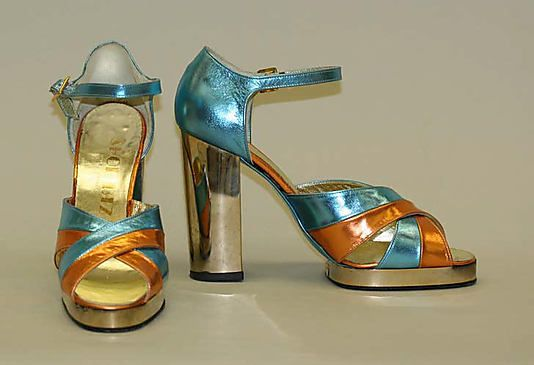 Shoe Biz  (Italian) Date: ca. 1968 Culture: Italian Medium: leather, synthetic Dimensions: Heel to Toe: 4 1/8 in. (10.5 cm) Height (of heel): 8 1/4 in. (21 cm)