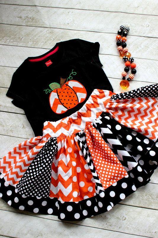 Halloween outfit Pumpkin outfit Chevron by LightningBugsLane