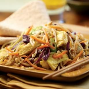 Moo Shu Vegetables  This vegetarian version of the classic Chinese stir-fry, Moo Shu, uses already-shredded vegetables to cut down on the prep time.  @eatingwell #dinner