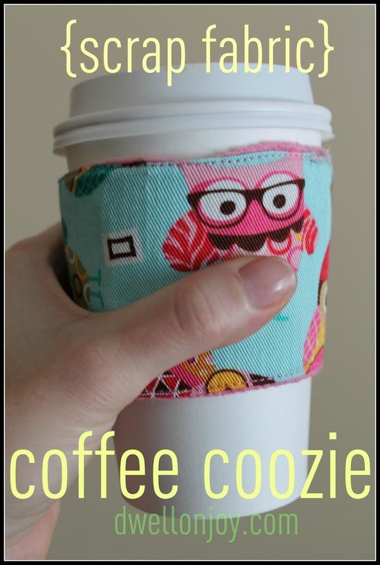Fabric scrap coffee cozy