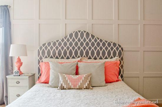 grid wall master bedroom