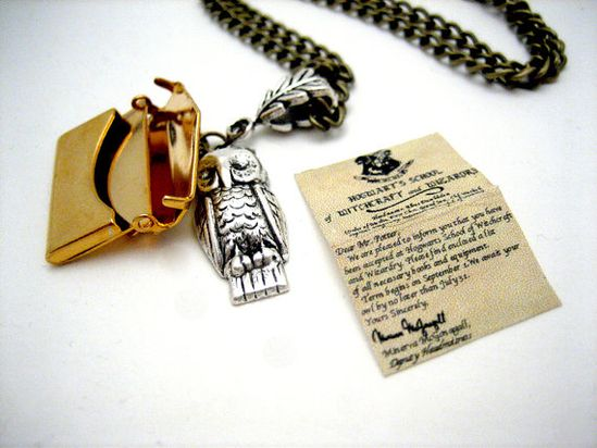 Owl necklace with Hogwarts acceptance letter