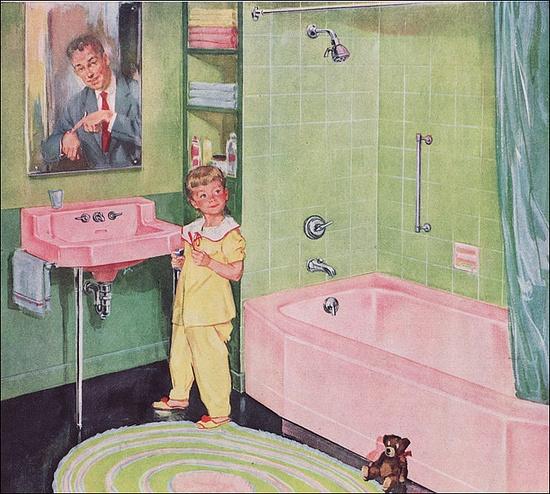 1952 Pink & Green Kohler Bath