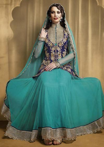 USD 117.49 Blue Zardosi Work Designer Anarkali Salwar Suit 27734