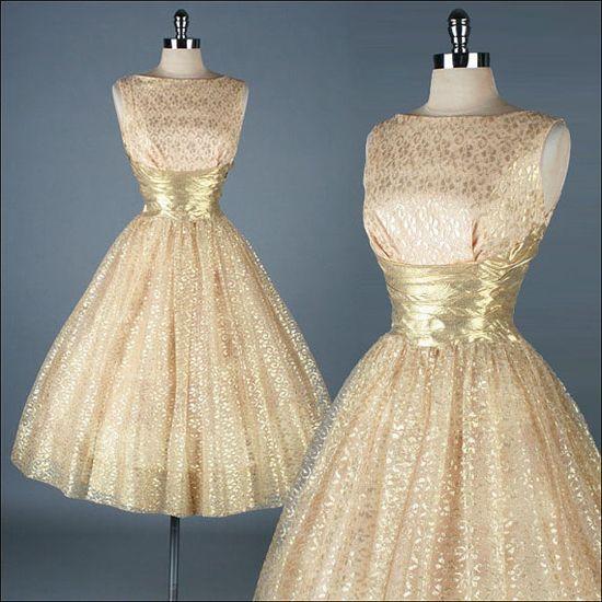 Vintage 1950s Dress - Gold Metallic Lace #partydress #vintage #frock #retro #teadress #romantic #feminine #fashion #promdress #lace