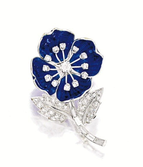 ENAMEL AND DIAMOND 'FLOWER' BROOCH, BOUCHERON designed as a pansy, set with blue guilloché enamel petals, embellished by flower centres and leaves set with brilliant-cut diamonds to a baguette diamond-set stem, mounted in 18 karat white gold, signed.