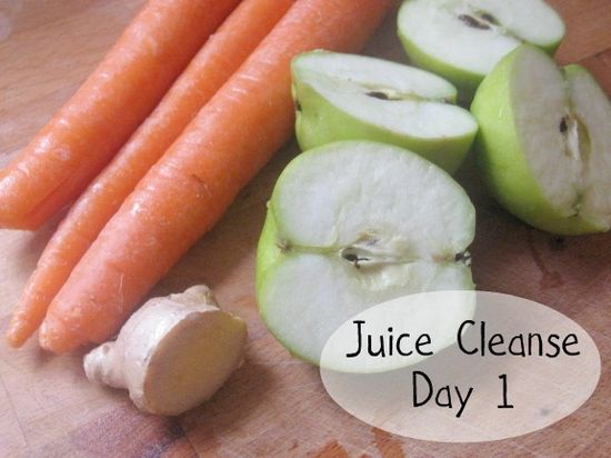 New Nostalgia: Juice Cleanse Day 1    Breakfast: Carrot, Apple, Ginger  Lunch: The Mean Green (Kale, Cucumber, Green apples, Celery, Lemon, Ginger)    Dinner: The Tangy Cabbage (Pears, Apples, Cabbage, Carrots, Lemon, Lime)    Juicer used: Breville Compact Juice Fountain