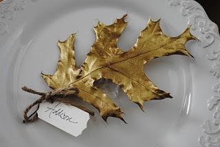 Gilded leaf place cards.