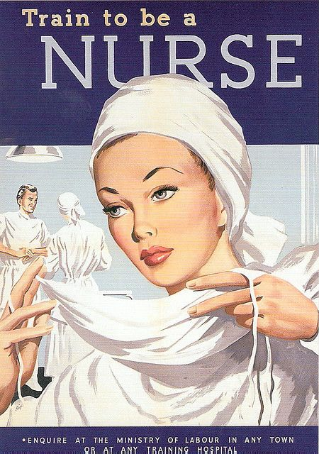 A strikingly beautiful WW2 illustrated nursing student recruiting poster from the 1940s.