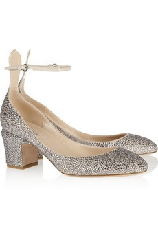 Crystal-studded suede pumps by Valetino
