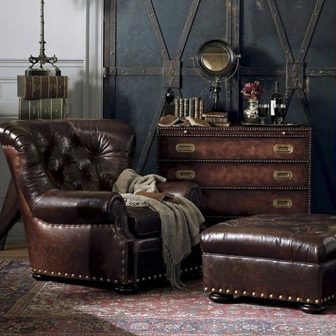 Steampunk interior by Ralph Lauren. Look at the walls!