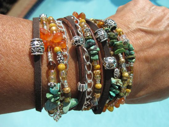 Boho  Endless Leather/Suede Wrap Beaded Bracelet  by fleurdesignz, $39.00