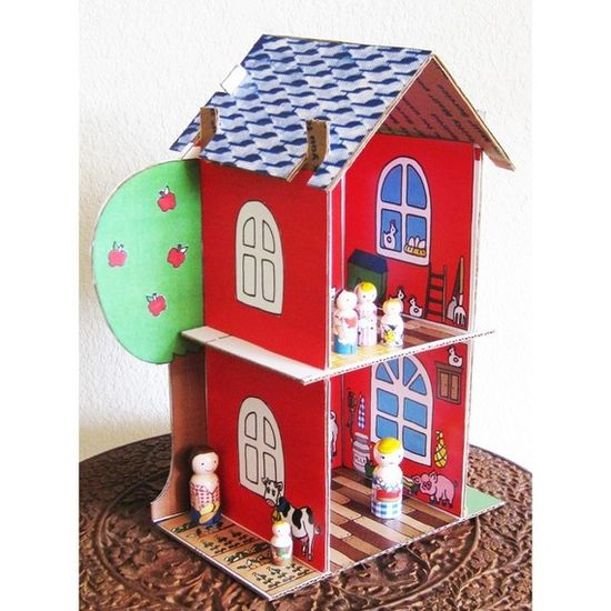 cardboard dollhouse pattern for sale