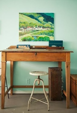 Home Office - Love the Wall Color!