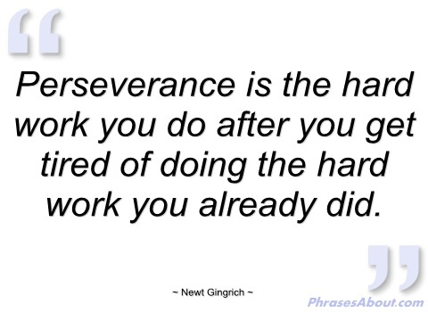 """Perseverance is the hard work you do after you get tired of doing the hard work you already did."""