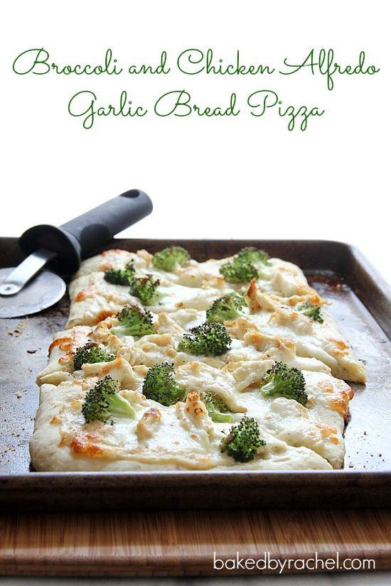 Broccoli and Chicken Alfredo Garlic Bread Pizza