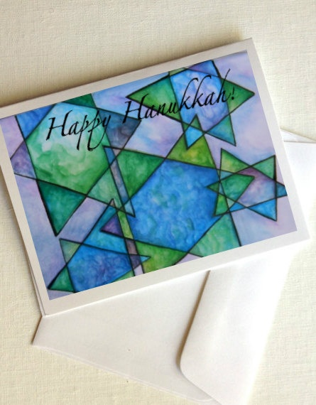 Customizable Hanukkah cards from AshleyGrebeArt on Etsy:  www.etsy.com/...  Hanukkah Cards / Painted in Israel / Customizable/ Watercolor Art Print / Optional Text / Set of 5. $15.00, via Etsy.