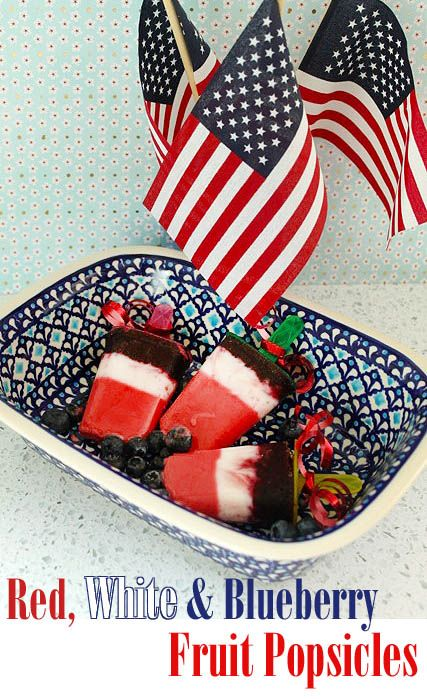 Red, white & blueberry popsicles