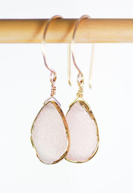 Kainehe earrings - pink druzy gold earrings www.kealohajewelr...  hawaii