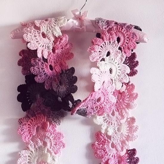 a terrific crochet scarf from KnittingaSmile on etsy.