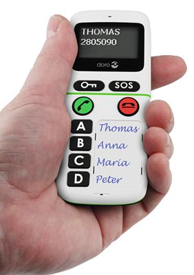 Simple mobile phone with 4 preset call buttons.
