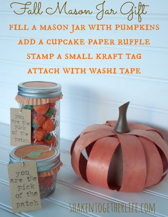 Fall Mason Jar Gift at shakentogetherlif...